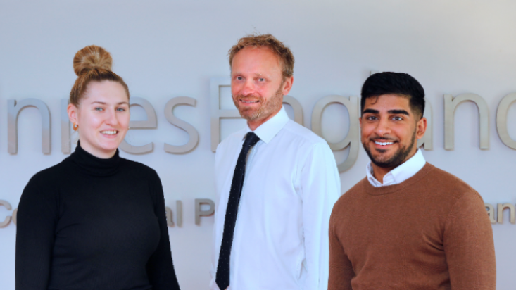 Vicky Gray, Steve Holland and Ryan Cheema at the Innes England Nottingham office