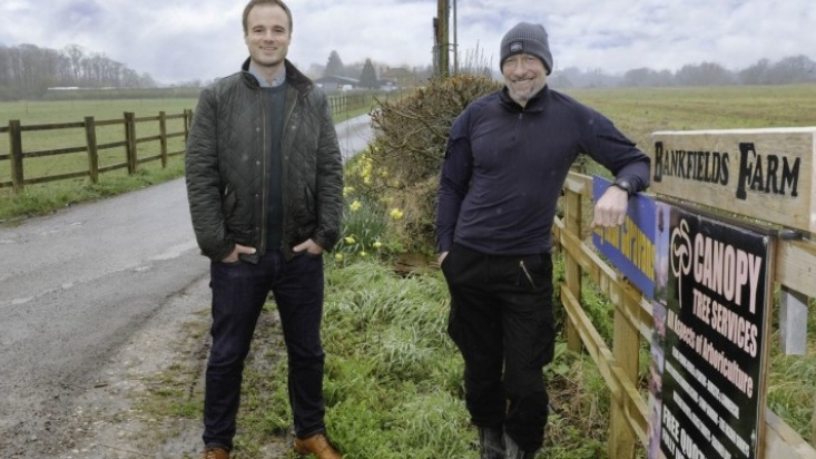 Associate director Matt Howson with owner of Bankfields Farm Steve Barker at the entrance to the farm