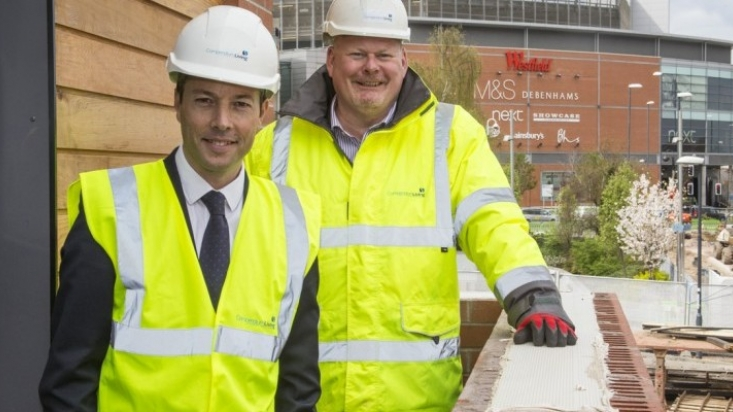 Nick Hosking of Innes England and Neil Walker of Compendium Living at the Castleward scheme in Derby