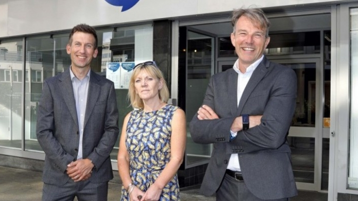 Innes England Directors Craig Straw and Mike Thorne with Trish Eaton outside Citizens Advice new offices