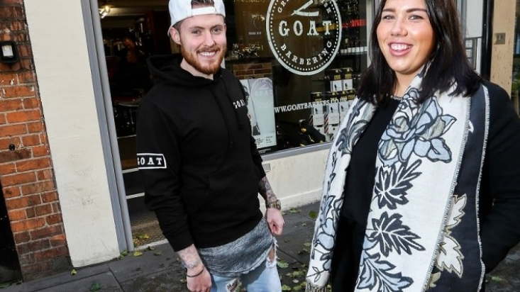 Mason Thorpe and Kate Ricahrdson outside GOAT barbers